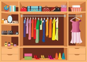 Women's clothes closet organized