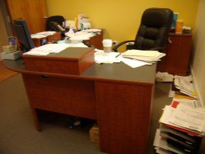 messy desk, clutter, cluttered desk, office, home office, paper, paper clutter
